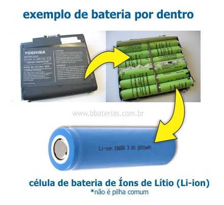 como funciona bateria notebook por dentro 12 células