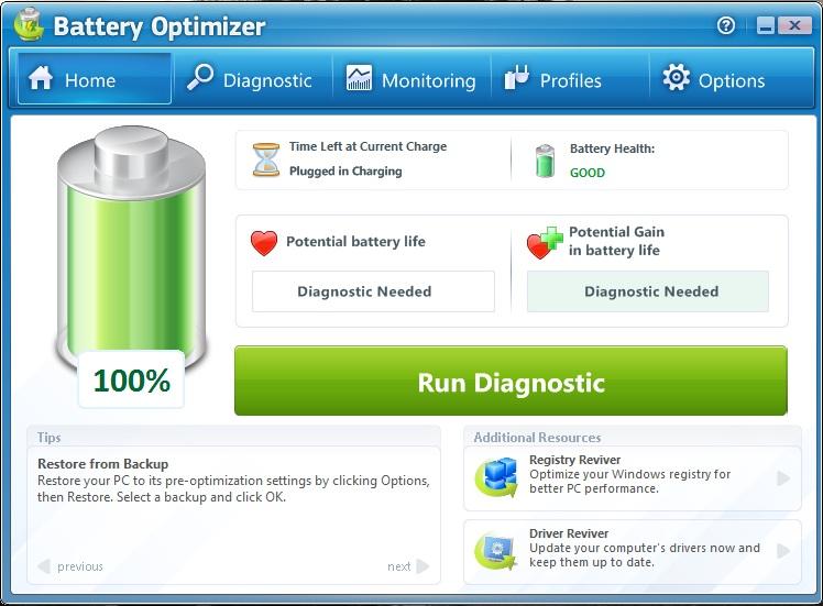 Battery Optimizer homescreen