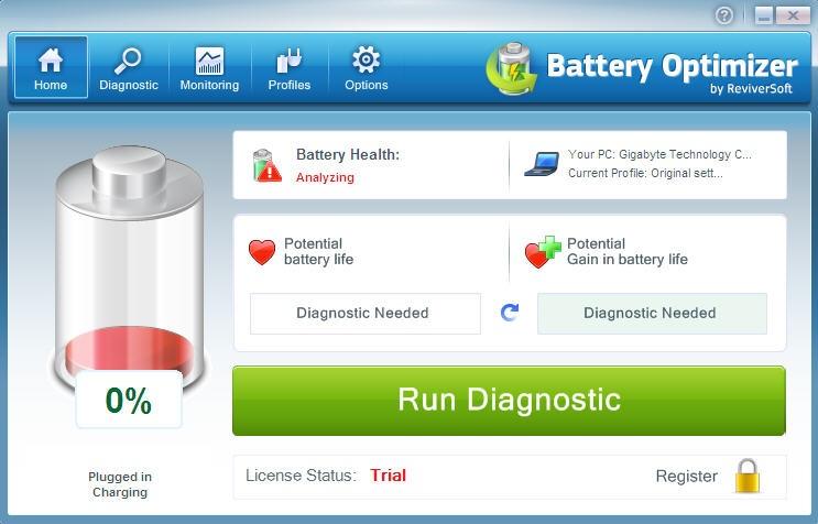 Battery Optimizer - Página de Diagnostico